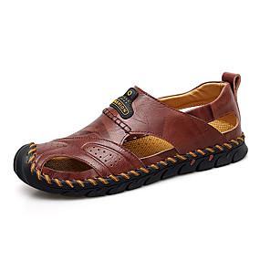baratos Sandálias Masculinas-Homens Sapatos de couro Pele Napa Primavera Verão Casual Sandálias Não escorregar Preto / Castanho Claro / Castanho Escuro