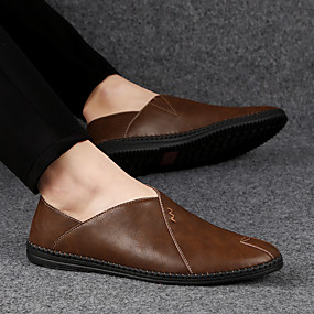 cheap Men's Slip-ons & Loafers-Men's Leather Shoes Nappa Leather / Cowhide Spring & Summer Casual Loafers & Slip-Ons Breathable Black / Light Red / Dark Brown / Driving Shoes