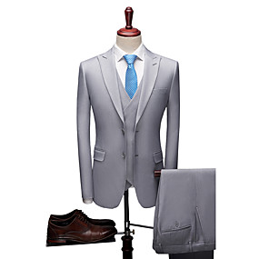 cheap Prom Suits-Blue / Light Gray / Dark-Gray Solid Colored Standard Fit Polyester Suit - Peak Single Breasted Two-buttons / Suits