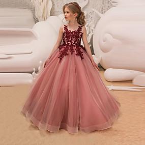 d73594ea3 Princesa Longitud Larga Vestido de Niña Florista - Encaje   Tul Sin Mangas  Joya con Apliques   Encaje   Cinturón por LAN TING Express