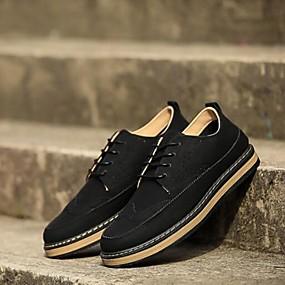 baratos Oxfords Masculinos-Homens Sapatos Confortáveis Sintéticos Primavera Verão Oxfords Preto / Marron / Cinzento