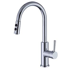 abordables Spray Amovible-Robinet de Cuisine - Mitigeur un trou Chrome Pull-out / Pull-down Set de centre Moderne Kitchen Taps