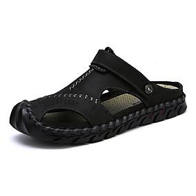 baratos Sandálias Masculinas-Homens Sapatos Confortáveis Lona / Jeans Primavera Verão Casual Sandálias Caminhada Respirável Preto / Marron / Khaki / Ao ar livre