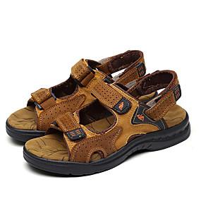 baratos Sandálias Masculinas-Homens Sapatos Confortáveis Pele Verão / Primavera Verão Vintage / Casual Sandálias Água / Tênis Anfíbio Respirável Preto / Marron
