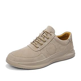 baratos Tênis Masculino-Homens Sapatos de couro Camurça / Pele Primavera Verão Casual Tênis Respirável Bege / Cinzento