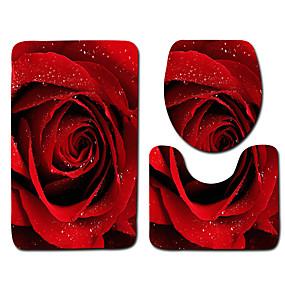 preiswerte Läufer und Teppiche-1 set Klassisch Badvorleger 100g / m2 Polyester gestricktes Stretch Blumenmuster Rutschfest
