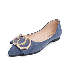 cheap Comfort Shoes-Women's Microfiber Spring & Summer Casual Flats Walking Shoes Flat Heel Pointed Toe Buckle Black / Blue / Almond