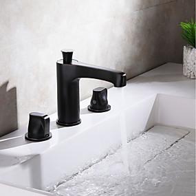 billige Ugentlige tilbud-Baderom Sink Tappekran - Utbredt Krom / Olje-gnidd Bronse Udspredt To Håndtak tre hullBath Taps