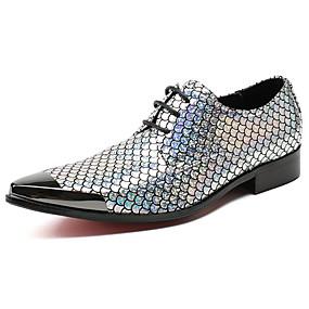 baratos Oxfords Masculinos-Homens Sapatos formais Pele Napa Primavera Negócio / Casual Oxfords Não escorregar Estampa Colorida Prata / Sapatos de vestir
