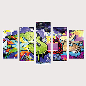 povoljno Trends-Print Rolled Canvas Prints Stretched Canvas Prints - Umjetnosti Crtani film Vintage Moderna Pet ploha Umjetničke grafike