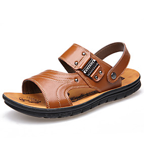 baratos Sandálias Masculinas-Homens Sapatos de couro Couro Verão Casual Sandálias Água / Caminhada Respirável Preto / Marron