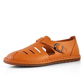 baratos Sandálias Masculinas-Homens Sapatos de couro Couro Primavera Verão Casual Sandálias Não escorregar Preto / Marron / Azul