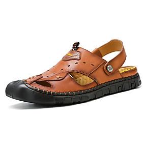 baratos Sandálias Masculinas-Homens Sapatos Confortáveis Couro Ecológico Primavera Verão Casual Sandálias Respirável Preto / Marron