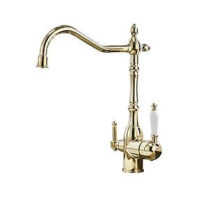 povoljno Kuhinjske slavine-Kuhinja pipa - Dvije ručke jedna rupa Electroplated Standardna lijevak Nadgradni umivaonik / Brass