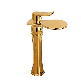 billige Ugentlige tilbud-Baderom Sink Tappekran - Utbredt Krom / Nikkel Børstet / Gylden Vannrett Montering Enkelt Håndtak Et HullBath Taps