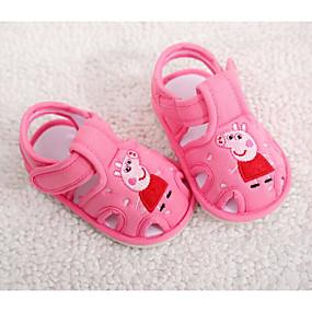 Недорогие Обувь и сумки-Девочки Хлопок Сандалии Малыш (9м-4ys) Удобная обувь / Обувь для малышей Серый / Пурпурный / Розовый Лето