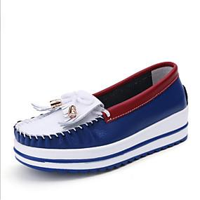 voordelige Damessneakers-Dames Nappaleer Lente Sneakers Platte hak Ronde Teen Blauw / Wit / zilver
