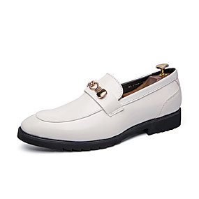 cheap Men's Shoes-Men's Novelty Shoes Patent Leather Spring & Summer Casual Loafers & Slip-Ons Waterproof White / Black / Tassel / Party & Evening