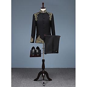 povoljno Maturalna odijela-Crn Patterned Kroj po mjeri Pamuk Odijelo - Mandarin Droit à plusieurs boutons