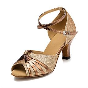 ราคาถูก รองเท้าและกระเป๋า-สำหรับผู้หญิง หนังเทียม ลาติน / Salsa หัวเข็มขัด รองเท้าแตะ ส้นป้าน ตัดเฉพาะได้ เงิน / ทอง / ม่วง / สำหรับเด็ก / ในที่ร่ม / ฝึก / มืออาชีพ / EU41