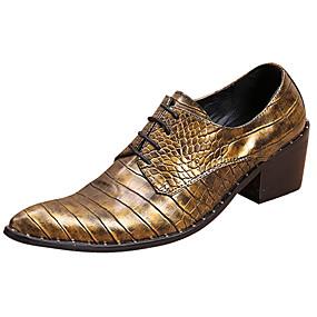 baratos Oxfords Masculinos-Homens Sapatos formais Pele Napa Primavera / Outono & inverno Casual / Formais Oxfords Não escorregar Dourado / Festas & Noite / Festas & Noite / Sapatos de vestir