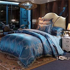 cheap High Quality Duvet Covers-Wedding European Lace satin jacquard Sheet 4 piece bedding set