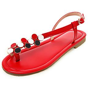 voordelige Damesschoenen met platte hak-Dames Platte schoenen Platte hak Open teen  Imitatieleer Lente zomer Zwart / Wit / Rood