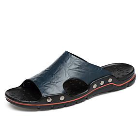Χαμηλού Κόστους Αντρικές Παντόφλες & Σαγιονάρες-Ανδρικά Δερμάτινα παπούτσια Δέρμα Καλοκαίρι Κλασσικό Παντόφλες & flip-flops Αναπνέει Κίτρινο / Μπλε / Σκούρο καφέ