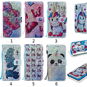 cheap Cellphone Case-Case For Samsung Galaxy Galaxy M10(2019) / Galaxy M20(2019) / Galaxy M30(2019) Wallet / Card Holder / with Stand Full Body Cases Animal / Cartoon / Flower Hard PU Leather for Galaxy M10(2019