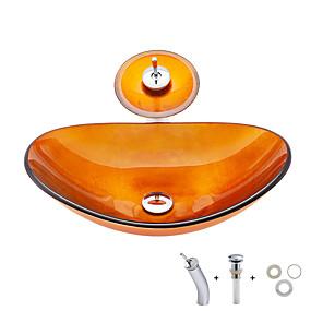 billige Fritstående håndvask-Badeværelse Håndvask / Badeværelse Vandhane / Badeværelse Monteringsring Moderne - Hærdet Glas Rektangulær Vessel Sink