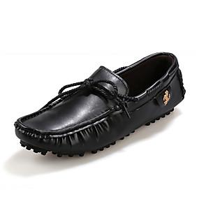 baratos Sapatos Náuticos Masculinos-Homens Sapatos Confortáveis Couro Ecológico Primavera Verão Sapatos de Barco Não escorregar Preto / Castanho Escuro