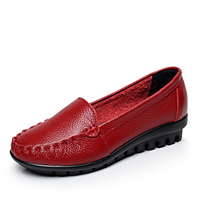 voordelige Damesinstappers & loafers-Dames Leer Zomer Informeel / minimalisme Loafers & Slip-Ons Lage hak Ronde Teen Kanten stiksel Zwart / Geel / Rood