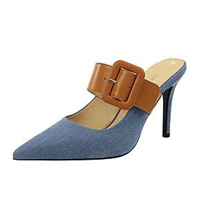 baratos Tamancos & Mules Femininos-Mulheres Jeans Verão Casual Tamancos e Mules Salto Agulha Dedo Apontado Presilha Azul Escuro / Cinzento / Azul Claro