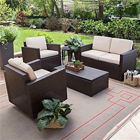 billige Møbler-udendørs kurveharpiks 4-delt havemøbler spisestue med 2 stole loveseat og sofabord
