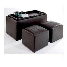cheap Storage Solution-Faux Leather Storage Bench Coffee Table with 2 Side Ottomans