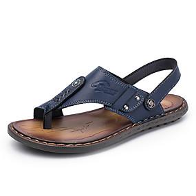 povoljno Muške papuče i japanke-Muškarci Udobne cipele PU Ljeto Papuče i japanke Crn / Plava / Tamno smeđa