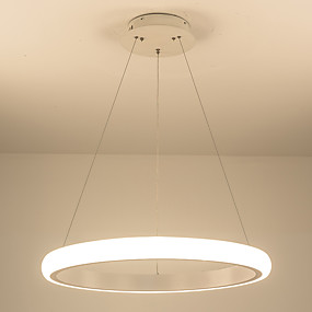abordables Plafonniers-a conduit les lustres acryliques modernes a mené les lustres de cercle de lustre allumant le plafond pour le salon acrylique luminaires d'intérieur de techara 110-120v / 220-240v