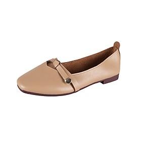 voordelige Damesschoenen met platte hak-Dames PU Lente zomer / Herfst winter Vintage / minimalisme Platte schoenen Platte hak Gepuntte Teen Beige / Lichtbruin