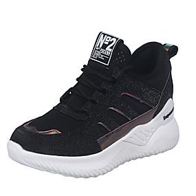 voordelige Damessneakers-Dames Sneakers Lichte zolen Creepers Ronde Teen Pailletten Elastische stof Zoet / minimalisme Wandelen Zomer / Lente zomer Wit / Zwart