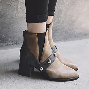 billige Mote Boots-Dame Støvler Fashion Boots Tykk hæl Spisstå Nagle PU Støvletter Vintage / Preppy Høst vinter Svart / Mørkebrun / Fest / aften
