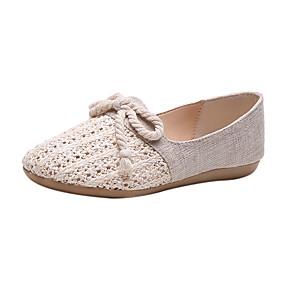 voordelige Damesschoenen met platte hak-Dames Platte schoenen Platte hak Canvas Zomer Beige / Bruin