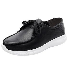 voordelige Damessneakers-Unisex Sneakers Comfort schoenen Platte hak Ronde Teen Leer Sportief / minimalisme Hardlopen Lente & Herfst / Winter Koffie / Wijn / Amandel