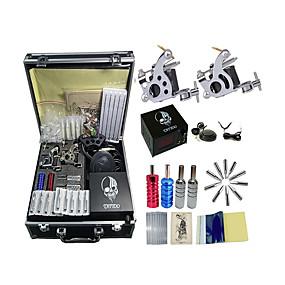 povoljno profesionalni tattoo setove-BaseKey Stručni tattoo kit Tattoo Machine - 2 pcs Tattoo Machines, Profesionalna Legura 20 W LCD napajanja 2 x čelične tetovaža stroj za obloge i sjenčanje / Uključuje etui