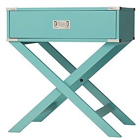 cheap Accent Furniture-Marine Green Turquoise 1-Drawer Modern End Table Nightstand