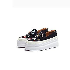 voordelige Damesinstappers & loafers-Dames Polyester Lente Loafers & Slip-Ons Platte hak Ronde Teen Zwart / Blauw
