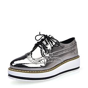 voordelige Dames Oxfords-Dames Oxfords Bullock schoenen Creepers Ronde Teen PU Brits Herfst / Lente zomer Goud / Zilver / Koffie