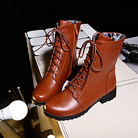 billige Mote Boots-Dame PU Høst vinter Vintage / Britisk Støvler Lav hæl Rund Tå Støvletter Svart / Brun / Rød