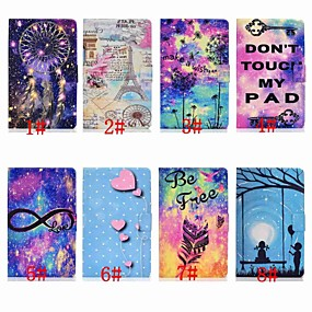 billige Telefoner og tilbehør-Etui Til Samsung Galaxy Samsung Tab A 10.1 (2019) T510 Kortholder / Støtsikker / med stativ Heldekkende etui Himmel / Tegneserie / Fjær Hard PU Leather