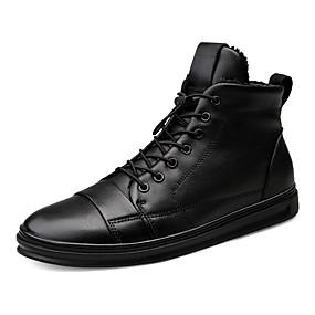baratos Tênis Masculino-Homens Sapatos de couro Pele Napa Inverno Esportivo / Casual Tênis Caminhada Manter Quente Preto