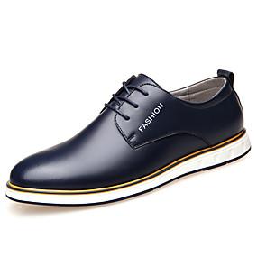 baratos Oxfords Masculinos-Homens Sapatos de couro Couro Primavera Verão Formais Oxfords Não escorregar Preto / Marron / Azul